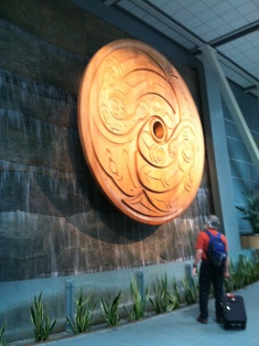 Vancouver Airport Carved Wooden Disk Art